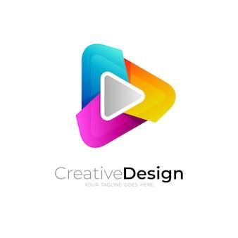Jouer à l'illustration de conception de logo et de technologie