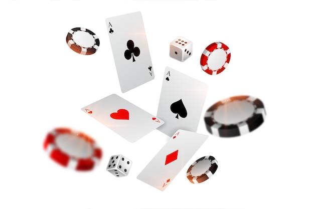 Jouer des jetons de carte de casino et des dés fond volant