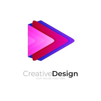 Jouer Le Logo Avec Coloré Vecteur Premium