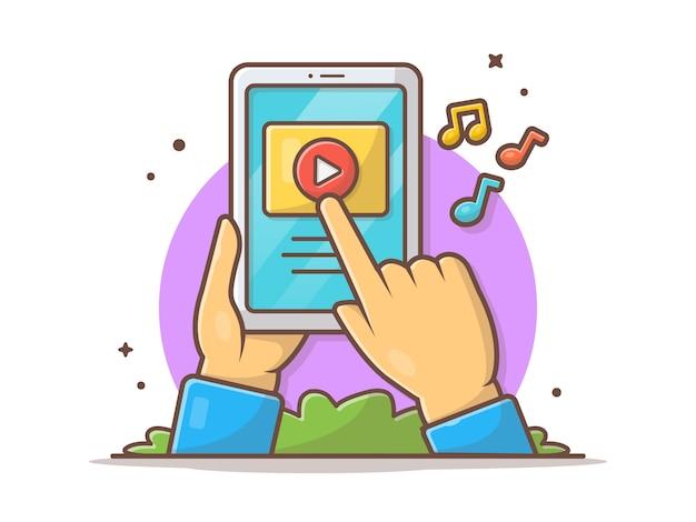 Jouer à la main la vidéo de musique sur la tablette icône illustration. streaming vidéo en ligne. vidéo d'apprentissage en ligne blanc isolé