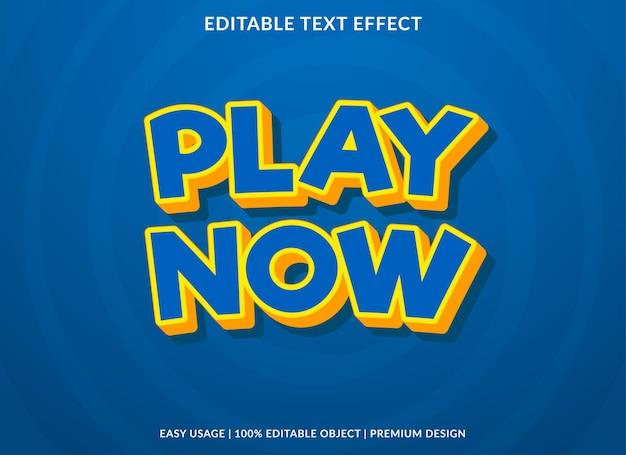 Jouer maintenant la conception de modèle d'effet de texte avec style cartoon