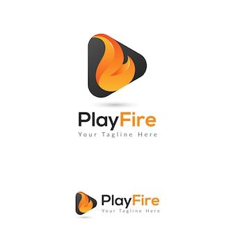 Jouer le modèle de logo de médias de feu
