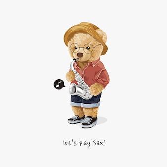Jouer le slogan du sax avec une poupée ours tenant une illustration de saxophone