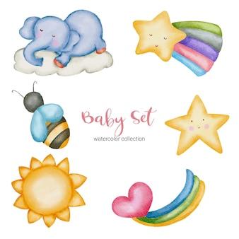 Jouet et accessoires pour bébé aquarelle. ensemble de peluches pour bébé de la nature