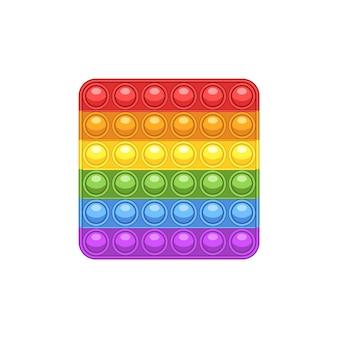 Jouet anti-stress de couleur arc-en-ciel pop it. un jouet tactile pour enfants et adultes. illustration de symbole de vecteur isolé sur fond blanc