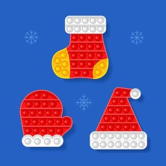 Jouet antistress thème du nouvel an mitten hat sock vector illustration