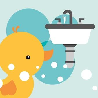 Jouet de canard en caoutchouc et salle de bain lavabo blanc