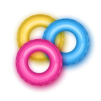 Jouet en caoutchouc gonflable de cercles de natation rose vif pour bouée de sauvetage d'illustration d'été de sécurité des enfants