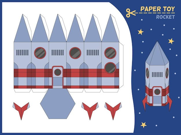 Jouet fusée en papier découpé. modèle de papier 3d de missile, créez un jeu éducatif pour enfants de vaisseaux spatiaux. feuille de travail de puzzle de jeu d'enfants d'âge préscolaire, illustration plate isolée de vecteur de dessin animé de page d'artisanat