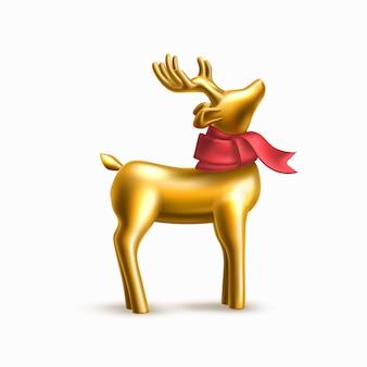 Jouet de renne d'or de noël en écharpe rouge