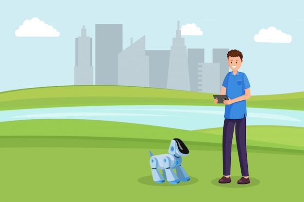 Jouet robot chien plat