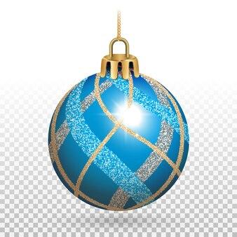 Jouet de sapin de noël, boule bleue avec des paillettes brillantes.