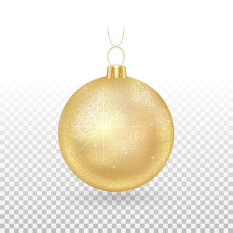 Jouet de sapin de noël - boules dorées avec des étincelles scintillantes.