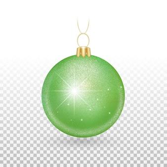 Jouet de sapin de noël - boules vertes avec des étincelles scintillantes.