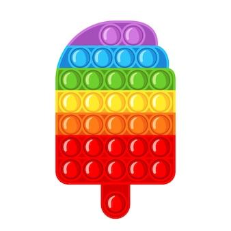 Jouet sensoriel anti-stress à la mode pop it fidget dans un style plat isolé sur fond blanc. jouet à main en forme de crème glacée pour les enfants avec des bulles de poussée. illustration vectorielle.