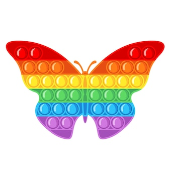 Jouet sensoriel anti-stress à la mode pop it fidget dans un style plat isolé sur fond blanc. jouet à main en forme de papillon pour les enfants avec des bulles de poussée. illustration vectorielle.