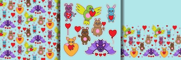 Jouets animaux avec motif sans couture imprimé coeur et ensemble de bordures