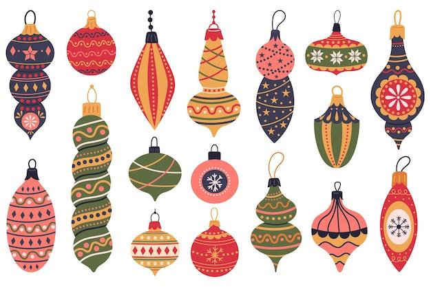 Jouets d'arbre de noël décorations de vacances de noël boules d'étoiles vintage ensemble vectoriel de jouets d'hiver de noël