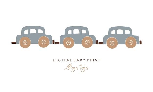 Jouets bébé boho, voiture boho abstraite, jouet minimal mignon pour enfants, voiture abstraite, jouets, éléments en bois pour enfants
