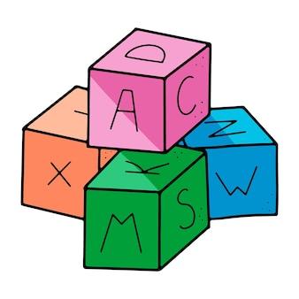 Jouets de bloc pour enfants de style doodle avec alphabet dessus au format vectoriel