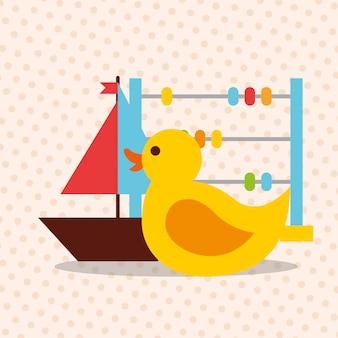 Jouets boules de canard et voilier