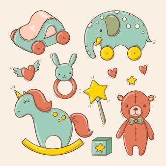 Jouets colorés pour bébé dessinés à la main dans un style doodle.