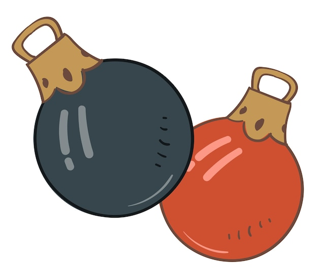 Jouets décoratifs pour la décoration d'arbres de noël, icône isolée de boules de noël avec des trous pour accrocher. parure et élément symbolique des vacances d'hiver et de la célébration du nouvel an, vecteur dans un style plat