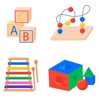 Jouets éducatifs motricité fine montesori icône de jouet pour enfants isolé sur fond blanc pour vous...