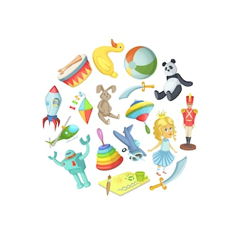 Jouets d'enfants dessin animé en illustration de forme de cercle