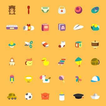 Jouets pour enfants et autres choses, design plat avec illustration de style rond