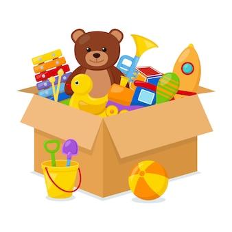 Jouets pour enfants dans une boîte, illustration vectorielle