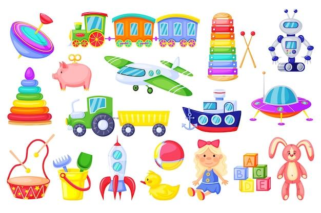 Jouets pour enfants dessin animé fusée train fille poupée canard en peluche lapin alphabet cubes ensemble