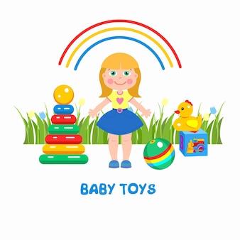 Les jouets pour enfants. une fille, une pyramide, une balle, un canard et un cube