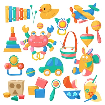 Jouets pour enfants jeux de dessin animé pour enfants dans la salle de jeux et jouer avec la voiture de canard ou des blocs colorés ensemble isolé sur fond blanc