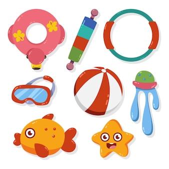 Jouets pour enfants pour le jeu de dessin animé de piscine isolé