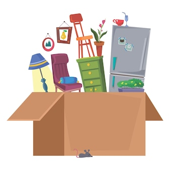 Jouets pour enfants pour les tout-petits dans une boîte en carton magasin de logo pour les nouveau-nés illustration vectorielle