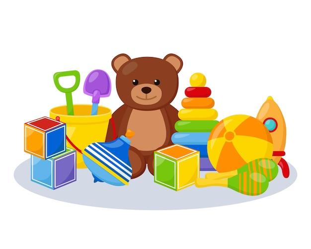 Jouets pour enfants, salle de jeux, illustration vectorielle