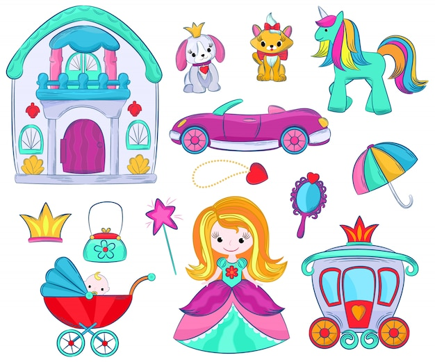 Jouets pour enfants vector bande dessinée jeux de fille pour les enfants dans la salle de jeux et jouer avec une voiture enfantine ou poussette poupée fille et illustration princesse ensemble de licorne ou de chien isolé.