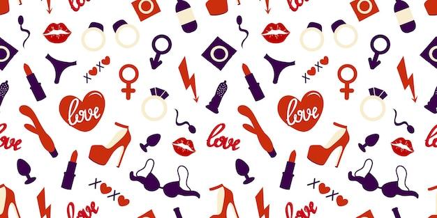 Jouets sexuels et articles pour adultes modèle sans couture.modèle sans couture de jouets pour adultes. illustration vectorielle