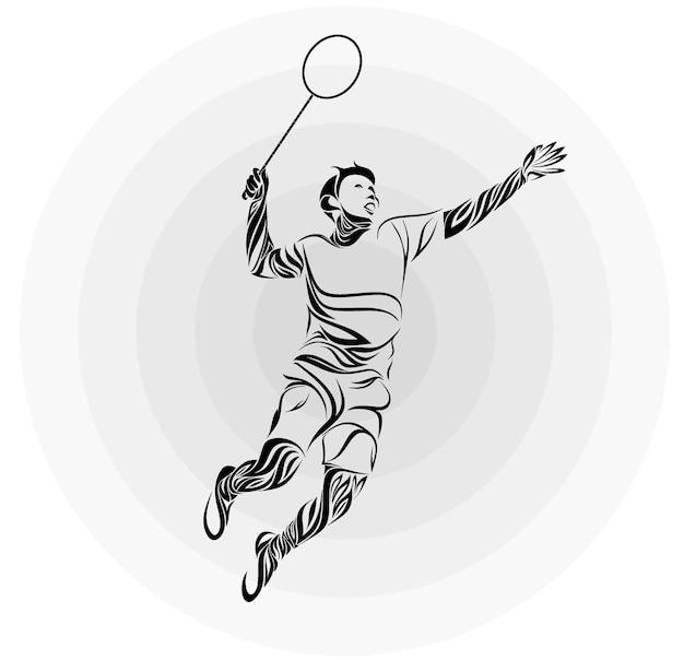 Joueur de badminton en ornement floral.