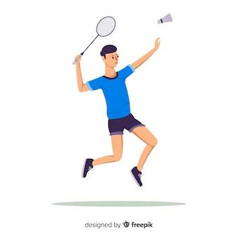 Joueur de badminton plat avec raquette