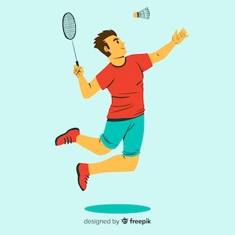 Joueur de badminton avec raquette et plume