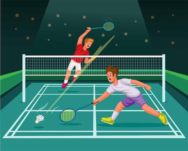 Joueur de badminton smash dans le vecteur d'illustration de dessin animé de stade de sport de compétition de match