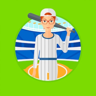 Joueur de baseball avec batte.