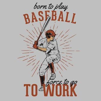 Joueur de baseball dessiné à la main vintage avec effet grunge et fond d'éclat d'étoile