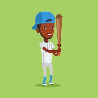 Joueur de baseball avec illustration vectorielle de chauve-souris.