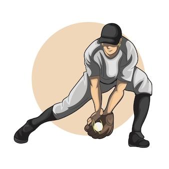 Joueur de baseball qui attrape la balle