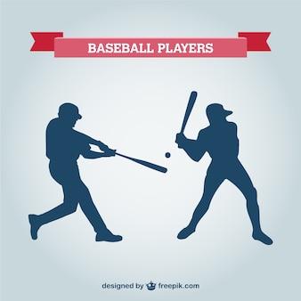 Joueur de baseball vecteur silhouettes