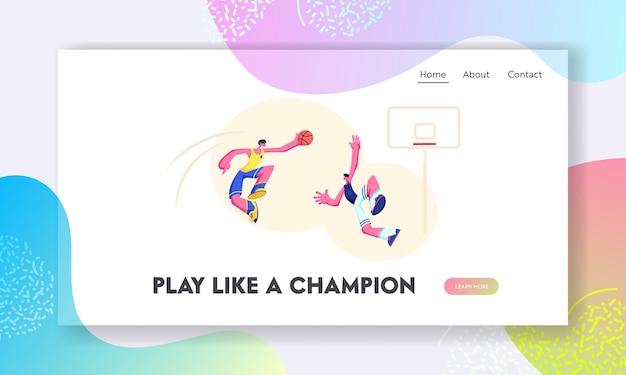 Joueur de basket-ball attaquant essayant de marquer un but dans le panier