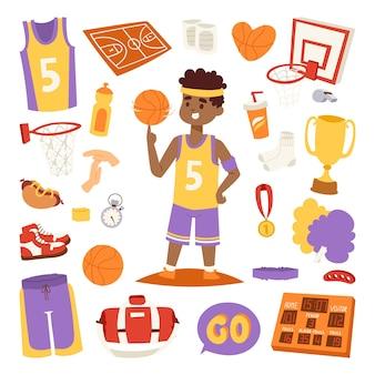 Joueur de basket-ball et autocollants d'icônes.